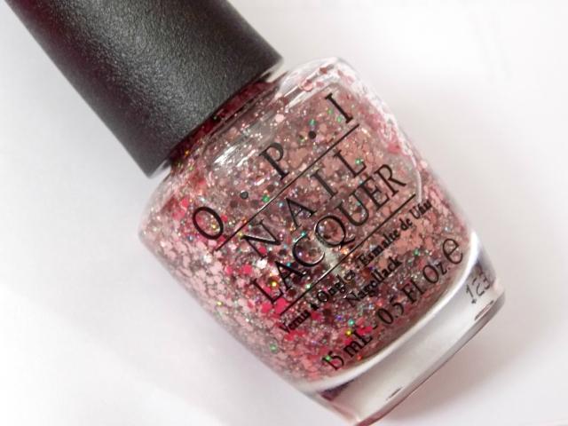 OPI Pink Yet Lavender glitter nail polish