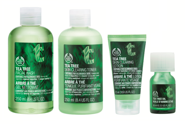 The Body Shop Tea Tree Skin Clearing Facial Wash, Toner, Lotion, and Oil