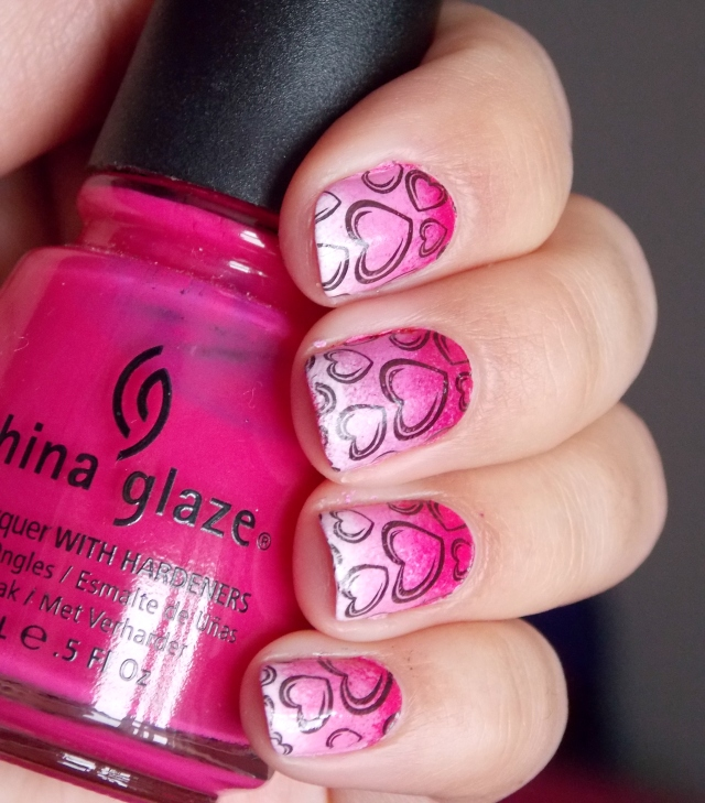 Valentine's Day Gradient Heart Nail Art