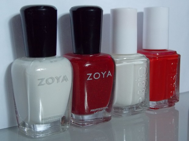 Zoya Snow White, Zoya Delilah, Essie Marshmallow, and Essie Jelly Apple