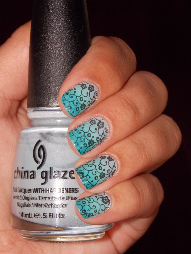 Blue, Turquoise And Tiny Floral Nail Art