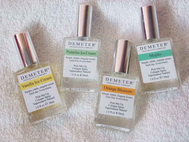 Demeter Fragrances: Vanilla Ice Cream, Pistachio Ice Cream, Orange Blossom & Mojito