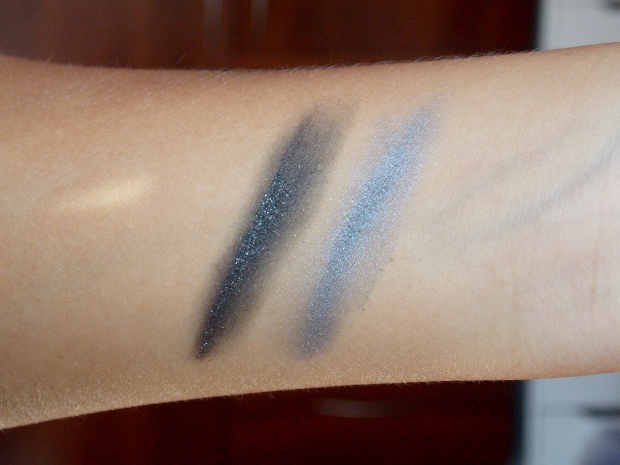 Swatches of Revlon ColorStay ShadowLinks in Onyx and Gunmetal