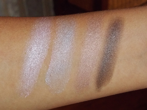 Swatches of Essence 3D Eyeshadow duos in Irresistible First Love and Irresistible Chocolates