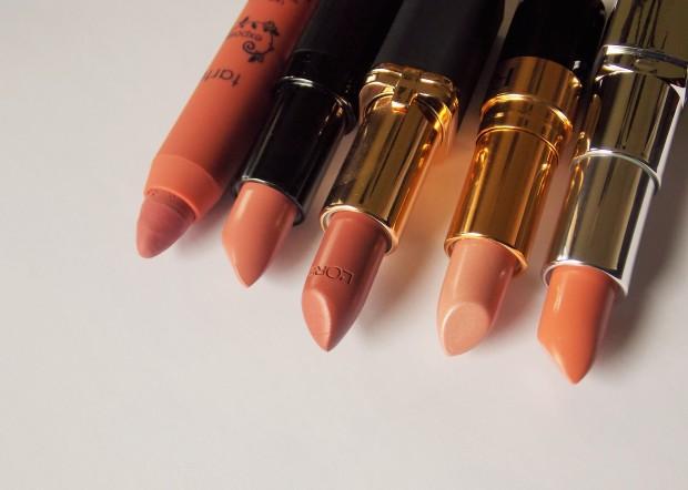 Classic Nude Lipstick Picks from L-R Tarte, Rimmel London Kate Moss, L'Oreal Paris, Revlon, and Rimmel London