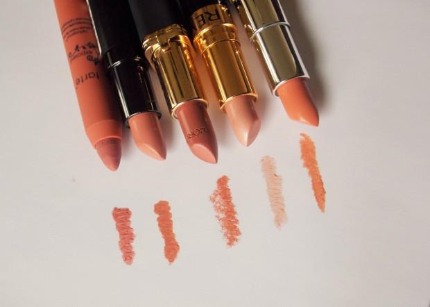 Swatches of Classic Nude Lipstick Picks from L-R Tarte, Rimmel London Kate Moss, L'Oreal Paris, Revlon, and Rimmel London