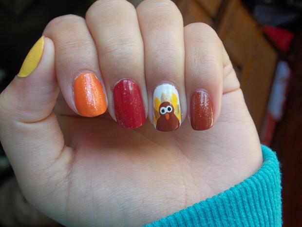 Thanksgiving Turkey Nail Art