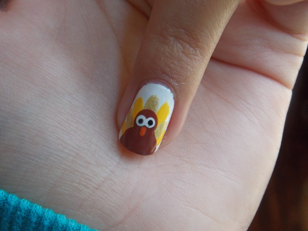 Thanksgiving Turkey Nail Art