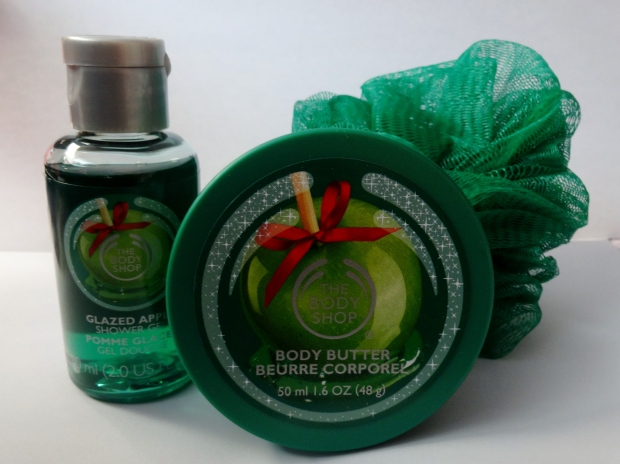 The Body Shop Glazed Apple Mini Shower Gel, Body Butter, and Loofah