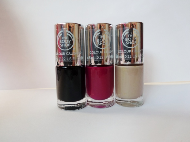 The Body Shop Colour Crush Nail Polish in Smoky Rose, Deeply In Love, and Almond Kiss