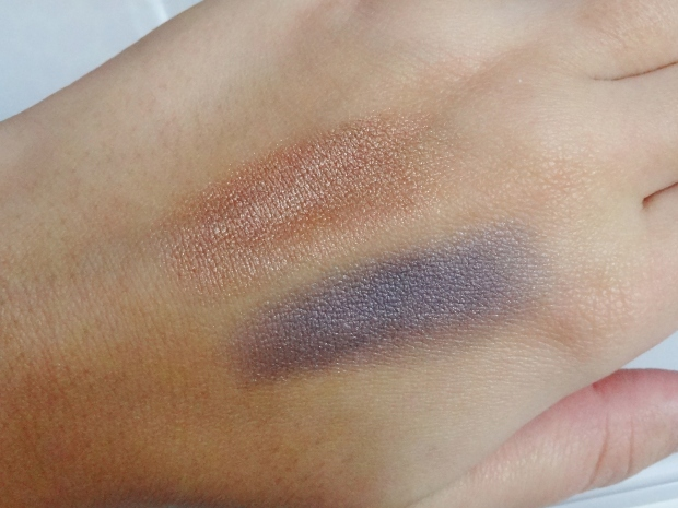 Swatches of The Body Shop Colour Crush Eye Shadow in Bronze Bliss and Midnight Flirt